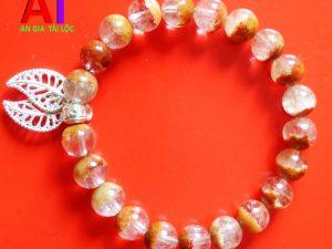 Vòng đeo tay phong thủy thạch anh ưu linh đỏ cam mix bạc