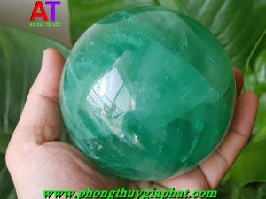 Quả cầu phong thủy đá Fluorit xanh