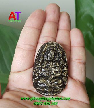 Phật bản mệnh đá núi lửa Obsidian gold rainbow