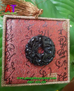 Mặt dây chuyền tỳ hưu hóa rồng đá núi lửa (OBISIDAN)