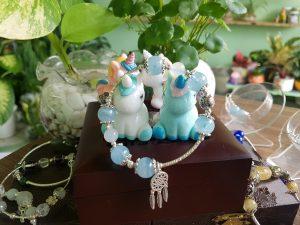 Vòng tay đá aquamarine mix bạc 925