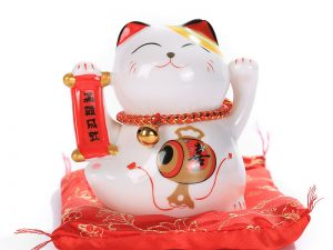 Mèo thần tài may mắn gốm sứ cao cấp