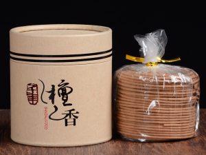 Hộp nhang vòng 48 khoanh làm từ gỗ đàn hương tự nhiên