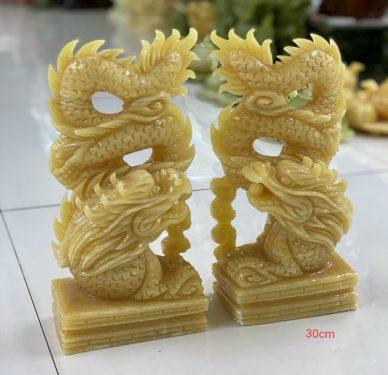 cặp tượng rồng đá ngọc hoàng long tự nhiên nguyên khối vàng đẹp